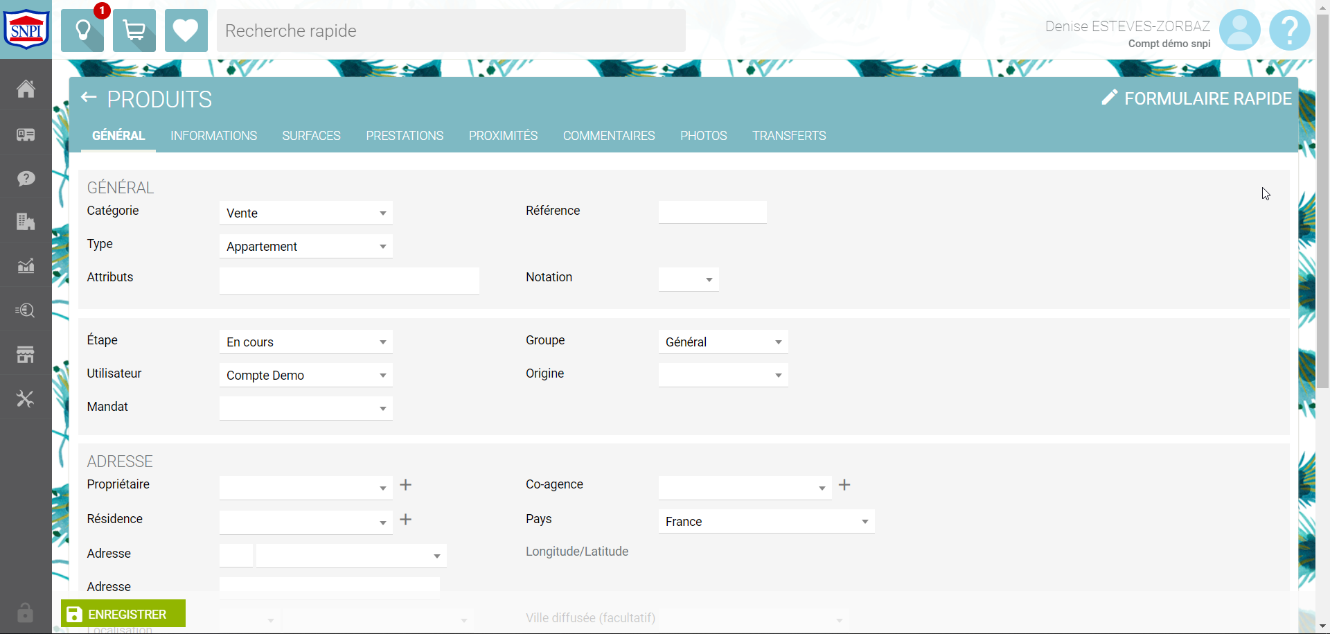 L'interface du logiciel SNPI ACCESS